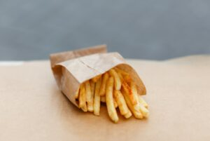 Bag of French Fries in PFAS-free grease-resistant bagGrease
