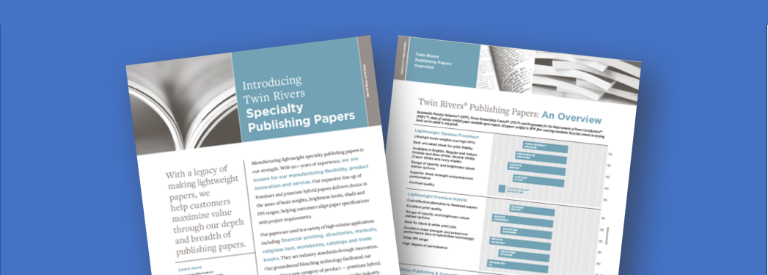 Preview of the Twin Rivers Publishing Overview with prominent text 'Introducing Twin Rivers Specialty Publishing Papers'