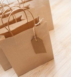 Brown kraft shopping bags