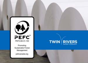 Rolls of paper with PEFC Certification Logo